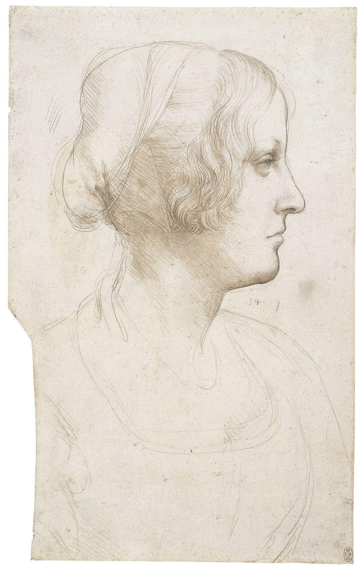 Leonardo da Vinci - Portrait of a young woman in profile c.1490 ...