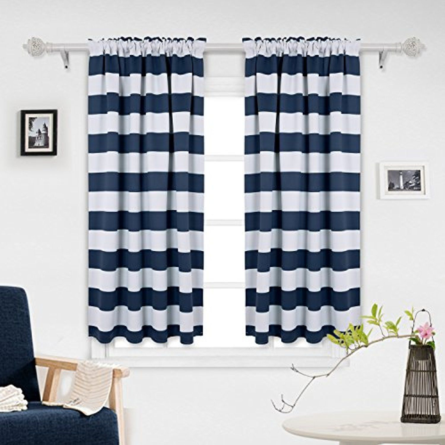 Deconovo Navy Blue Striped Blackout Curtains Rod Pocket Nautical Navy And Greyish White Striped Curtains For Kids Room 42w Kids Curtains Striped Room Curtains
