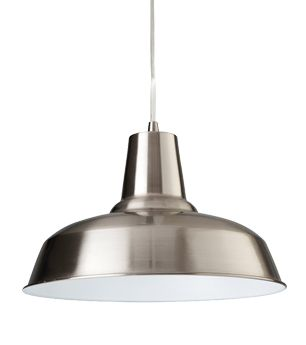Firstlight Smart 1 Light Pendant Brushed Steel With White Inside 8623bswh