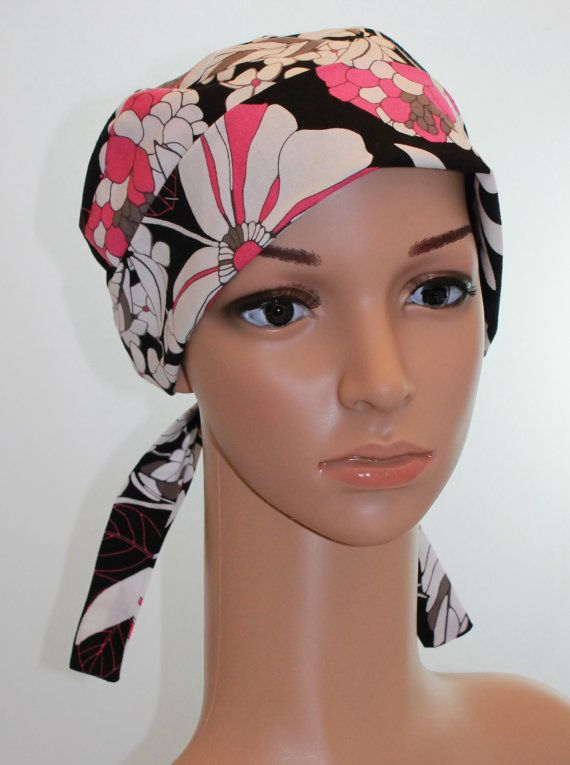 Women s Tie Back Surgical Scrub Hat  Chemo hat with band. Designer ... 65e07568b4a