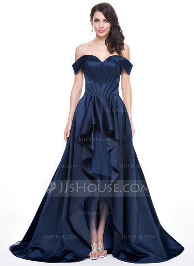 292bd949b Corte A Princesa Hombros caídos Asimétrico Satén Vestido de noche con  Cascada de volantes (017056129)