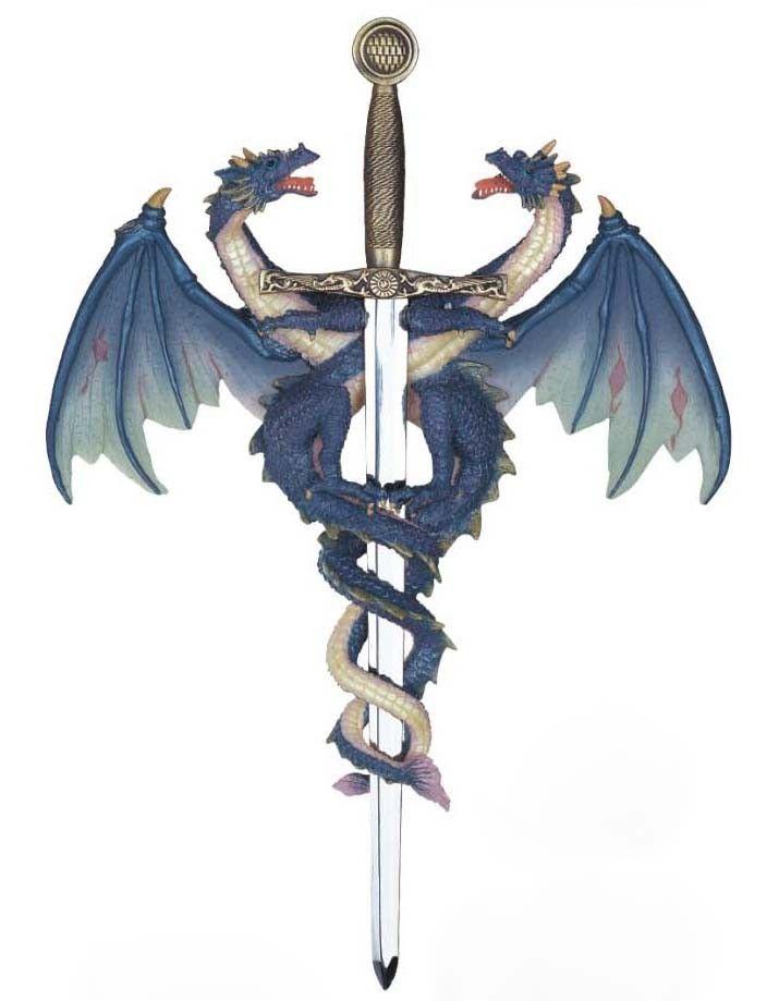 Dragons Wrapped Around Sword Fantasy Tattoos Tribal Dragon Tattoos Sword Tattoo