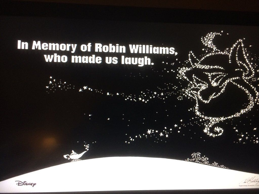 The Disney Channels memorial to Robin Williams after their screening of Aladdin tonight.