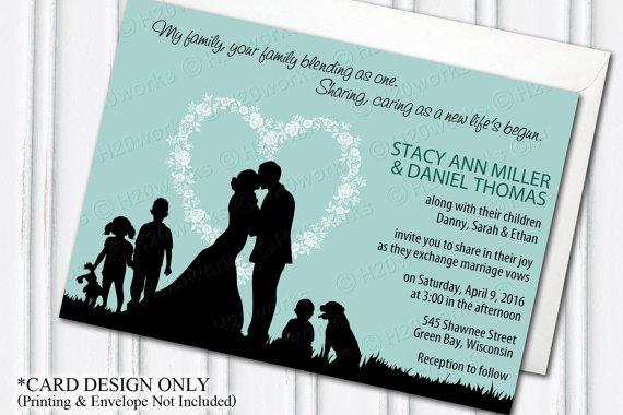 Blended Family Wedding Invitation Blending Aqua Teal Bride Groom Children Kids D Blended Family Wedding Sample Wedding Invitation Wording Wedding Pets