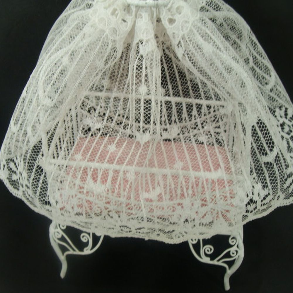 "$ 7.65  Free Ship___Doll Dollhouse Room Baby Crib 4-Post White Lace Canopy Vintage Miniature Toy ___ Hi there...... white metal four poster miniature dollhouse baby doll crib with the lacy fabric top. It measures 4-1/2"" x 6"" tall. And it has a pink mattress."
