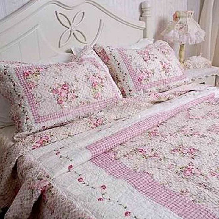 rose quilted bedding | Shabby Pink Rose Quilt Bedding | shabby ... : quilts for bed - Adamdwight.com