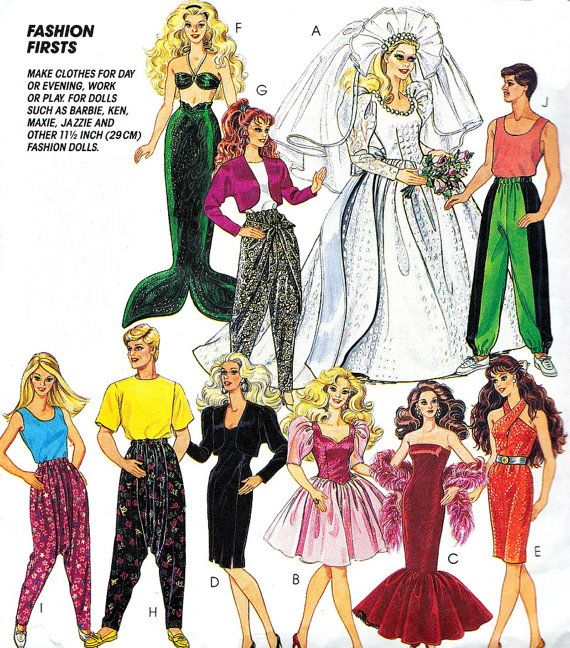 Barbie and Ken Doll Clothes Pattern McCall\'s 5738 by paneenjerez ...