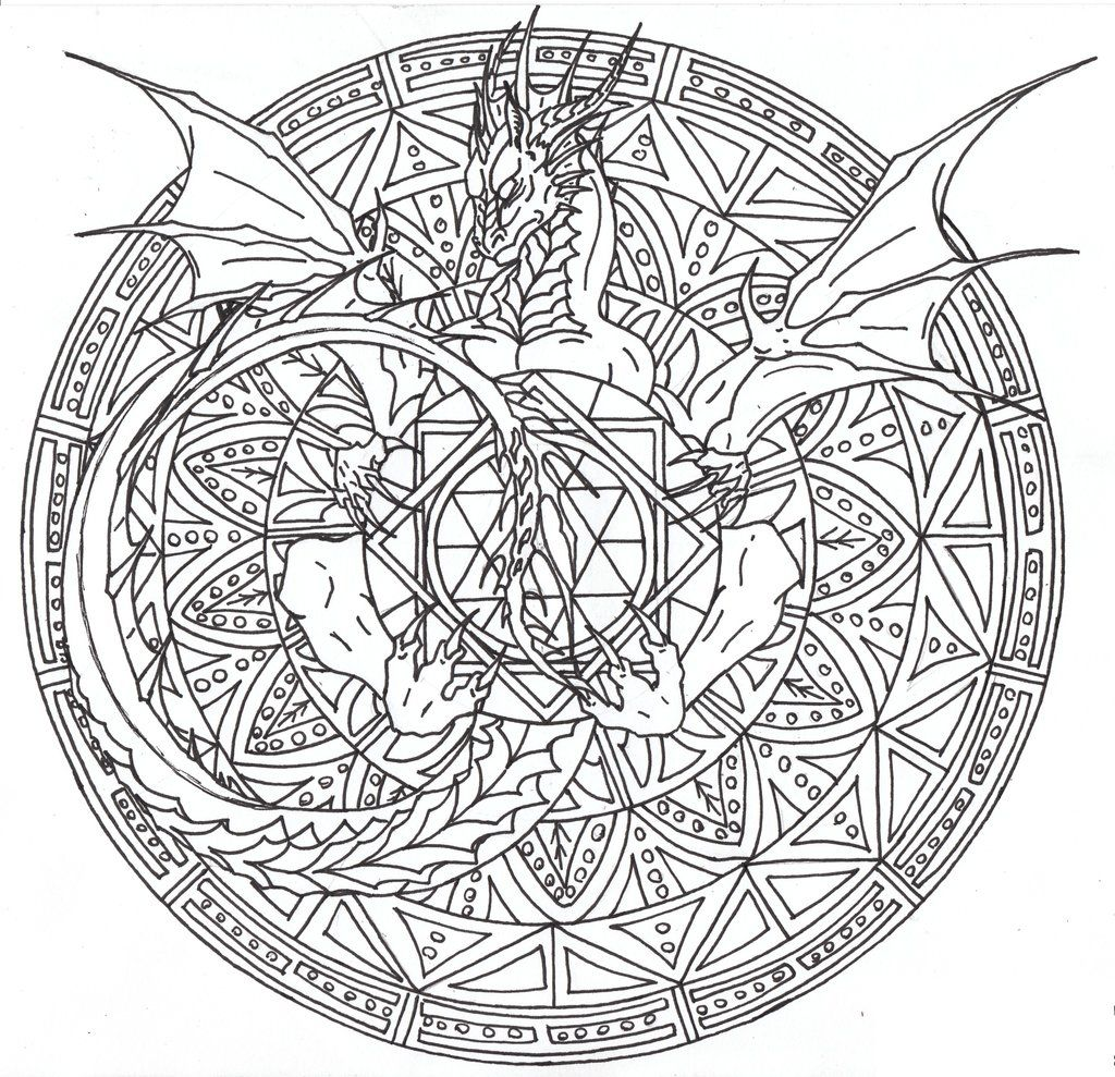 Dragon Mandala 2 By Airegon On Deviantart Dragon Coloring Page
