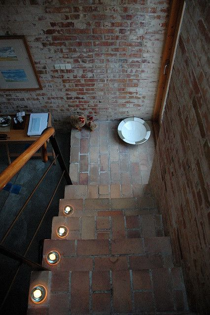 brick stairs and lights