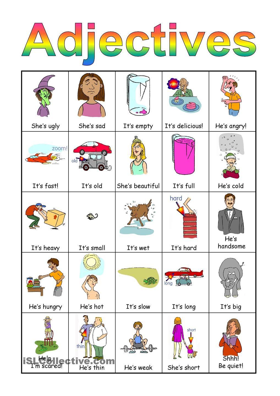 Adjectives Bingo Set English Adjectives Adjectives