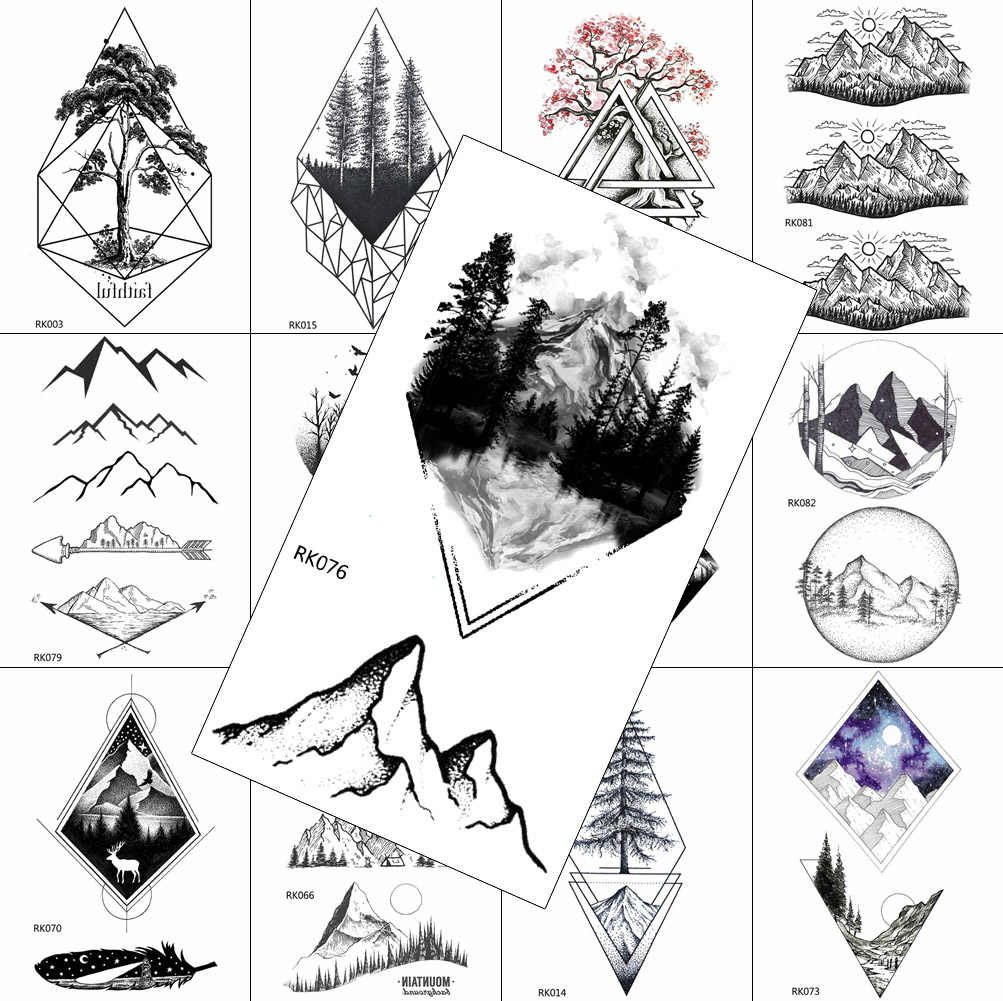 Geometric Forest Mountain Fake Body Art Drawing Arm Legs Tatoos Temporary Tattoos Sheets Sticker Waterproof DIY Tattoo For Men