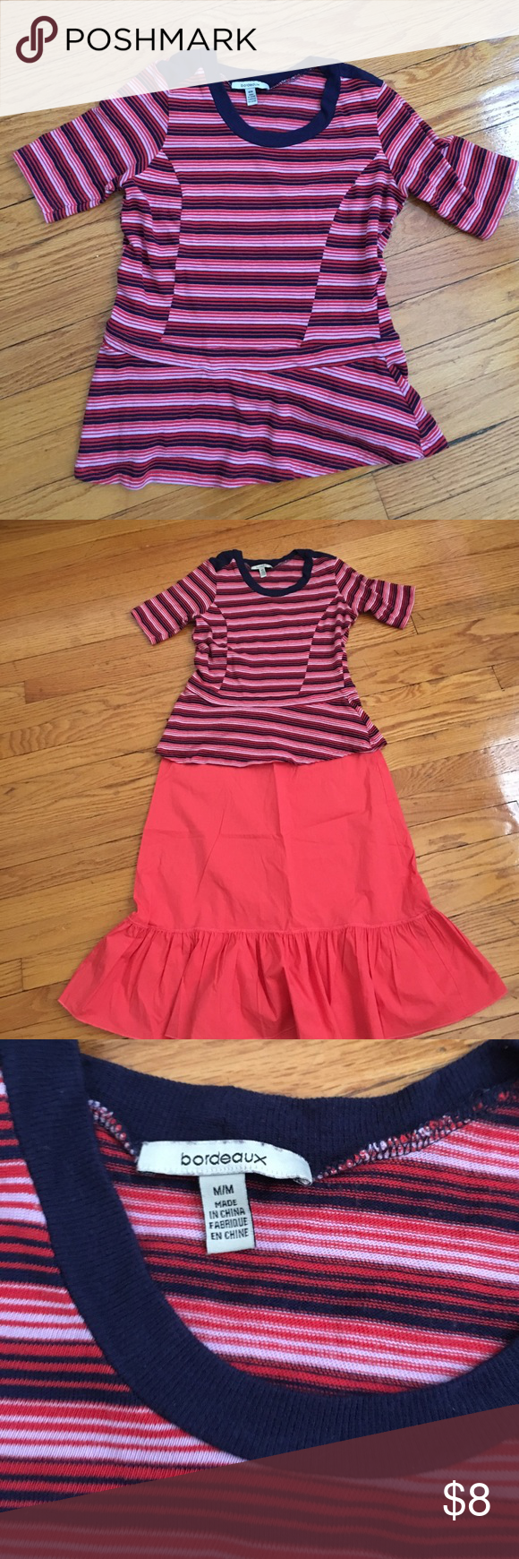 Anthropologie Bordeaux Peplum top Fun stripes. Reposhing this as it I thought it would be slightly longer. Anthropologie Tops