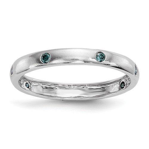 14k White Gold Gypsy Set Blue Diamond Eternity Ring
