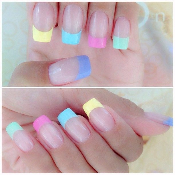 Pastel nails - pink, yellow, green, blue