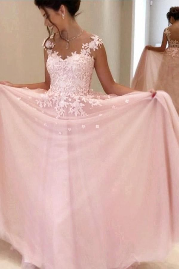 Gorgeous A-line Pink Chiffon Long Prom Dress Evening Dress PG398 ...