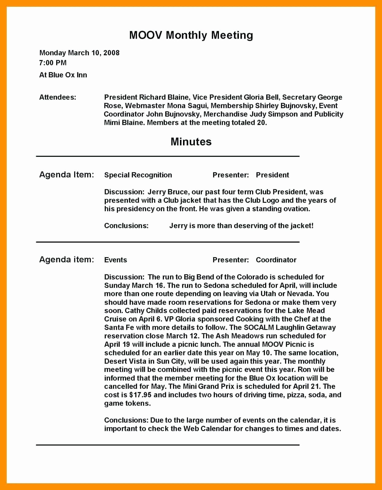 Example Of Minutes Of Meeting Template In 2020 Templates Memo