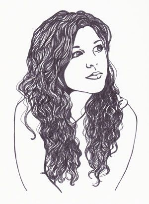 How To Draw Curly Hair Girl Drawing Pictures Custom Portrait Illustration Art