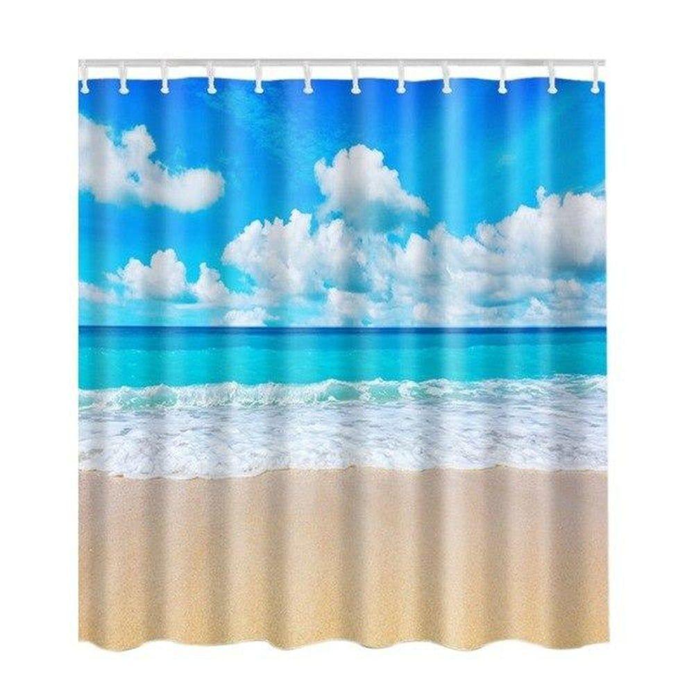 Fabric Shower Curtain Ocean Pattern Sea Beach Blue In 2020 Bath