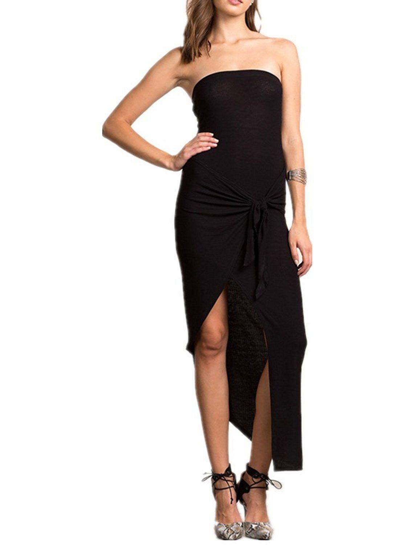 Haola Women\'s Tube Top Dresses Irregular Hem Sexy Dress Party ...