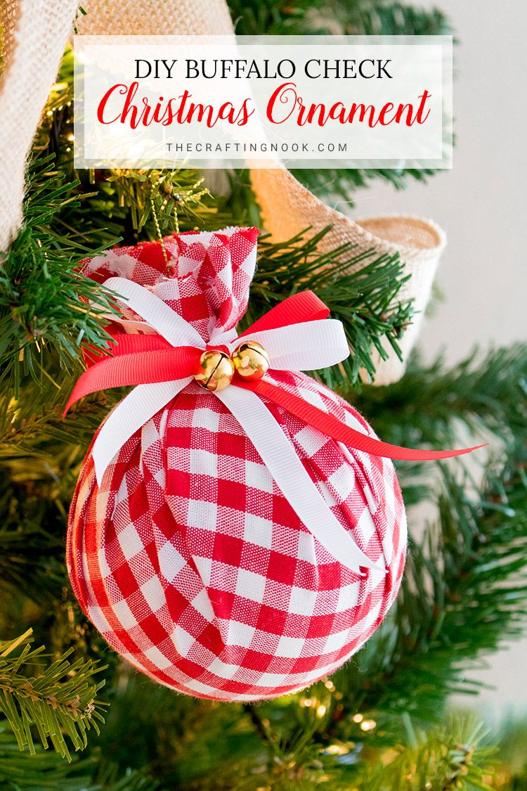 Diy Buffalo Check Christmas Ornament Easy Upcycled Fabric Baubles The Crafting Nook Christmas Ornaments Buffalo Check Christmas Quilted Christmas Ornaments