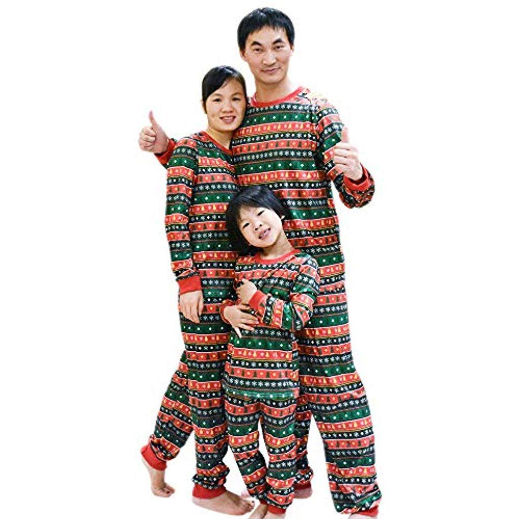 BOZEVON Manica Lunga Natale Pigiama Famiglia - Albero di Natale di  Corrispondenza Pigiama Top Pantaloni per 65f6253c3c0