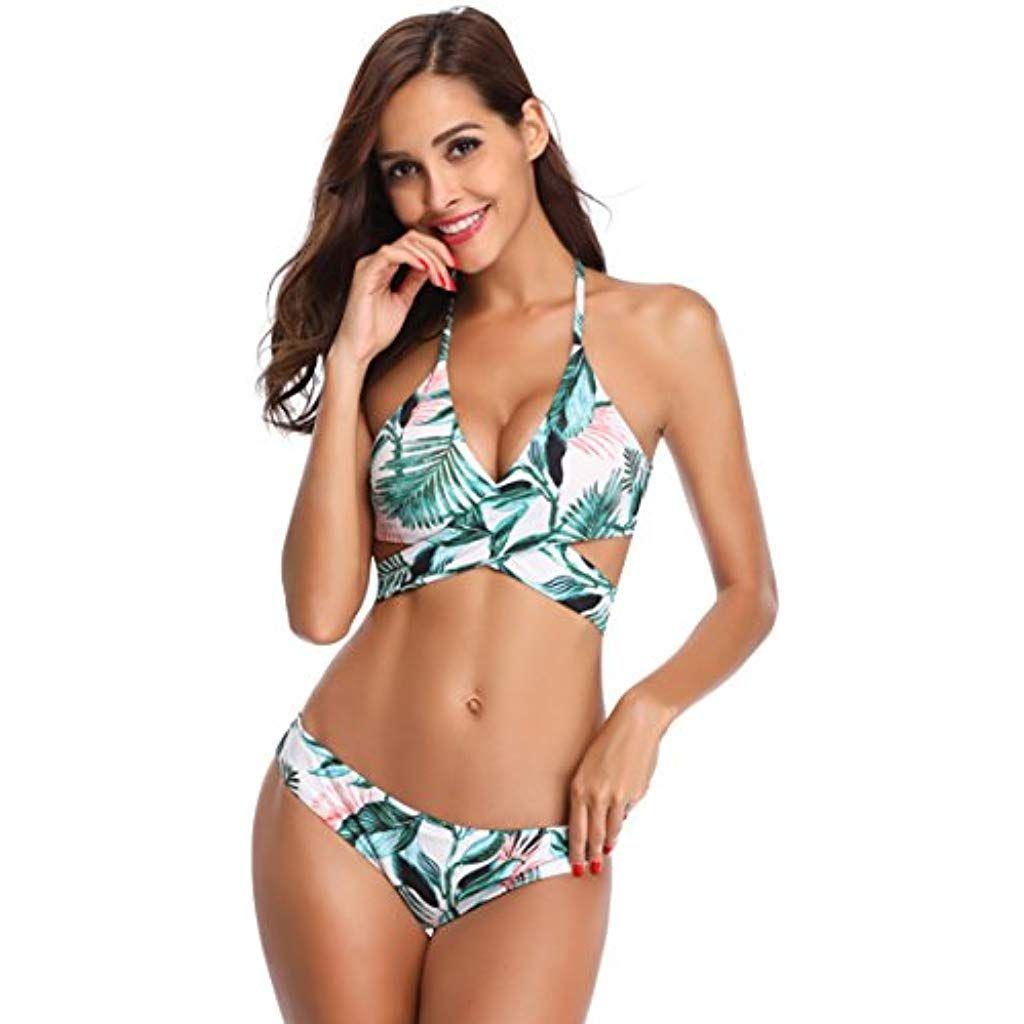 Damen Strappy Bikini Set Push-up Zweiteiligen Bh Badeanzug Schwimmanzug Bademode