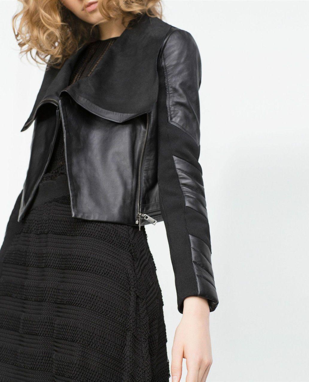 Zara Black Leather Biker Jacket Beautiful Wardrobe