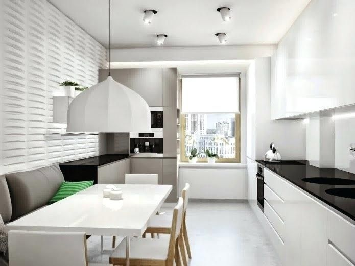 be long narrow kitchen design ideas remodel pictures sink white with lights - Luvne.com #longnarrowkitchen Cramped and dark kitchen can make us think low, whereas walking right into a lighter, brighter space can instantly lift ... #longnarrowkitchen
