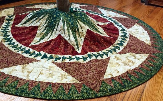Quilted tree skirt, large Christmas tree skirt, Christmas Celebration tree skirt in red green and gold with golden metal clasps