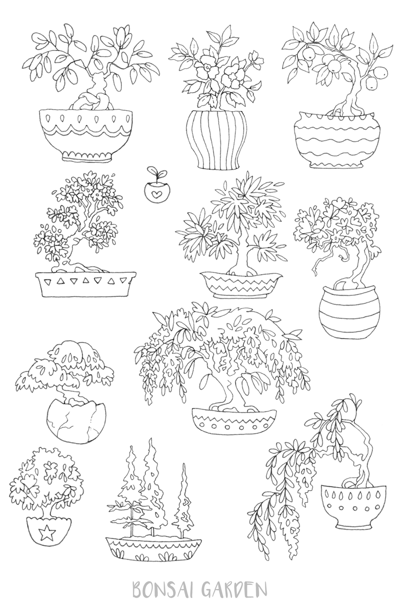 printable coloring page u0027bonsai garden u0027 tree u0026 nature coloring
