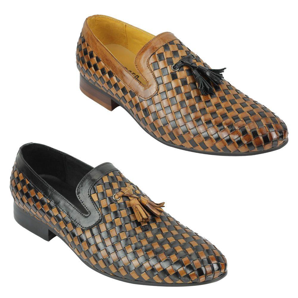 8b2250ef373 Mens Black Brown 2 Tone Woven Real Leather MOD Tassel Loafer Slip on Shoes