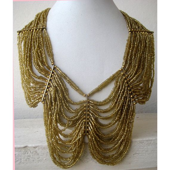 Gold Necklace/Statement Necklace//Beaded Necklace/Bib by FootSoles, $28.50
