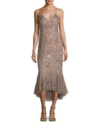 475a5d4ffc Aidan Mattox Beaded Mermaid Slip Midi Dress