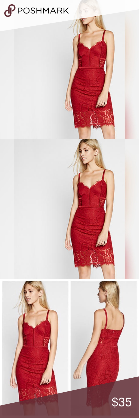 Express Piped Lace Sheath Dress This Red Lace With Silk