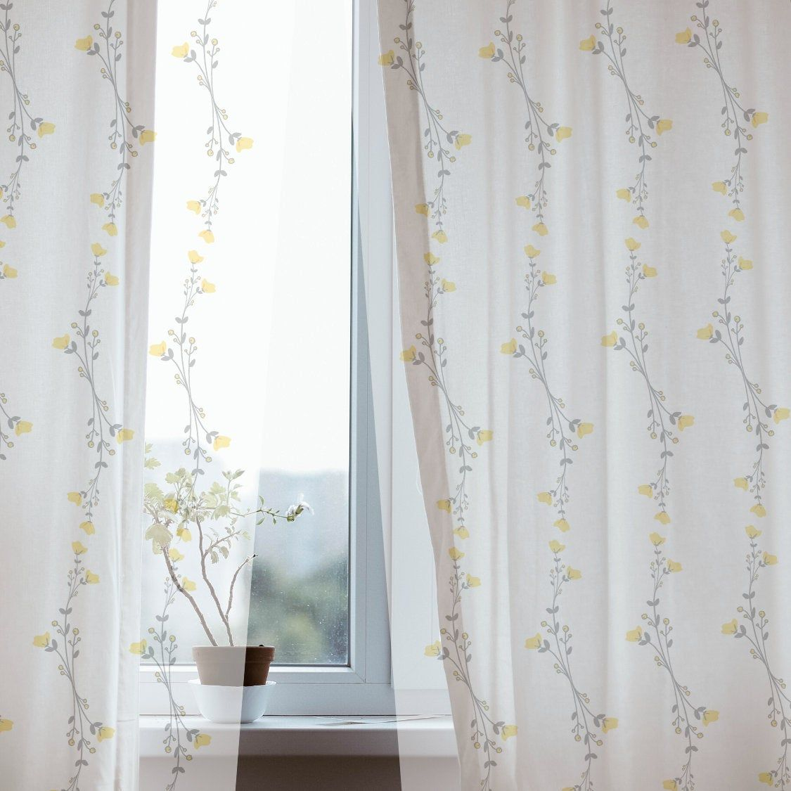 Country Curtains Gray Yellow Flowers Sheer Curtains Blackout