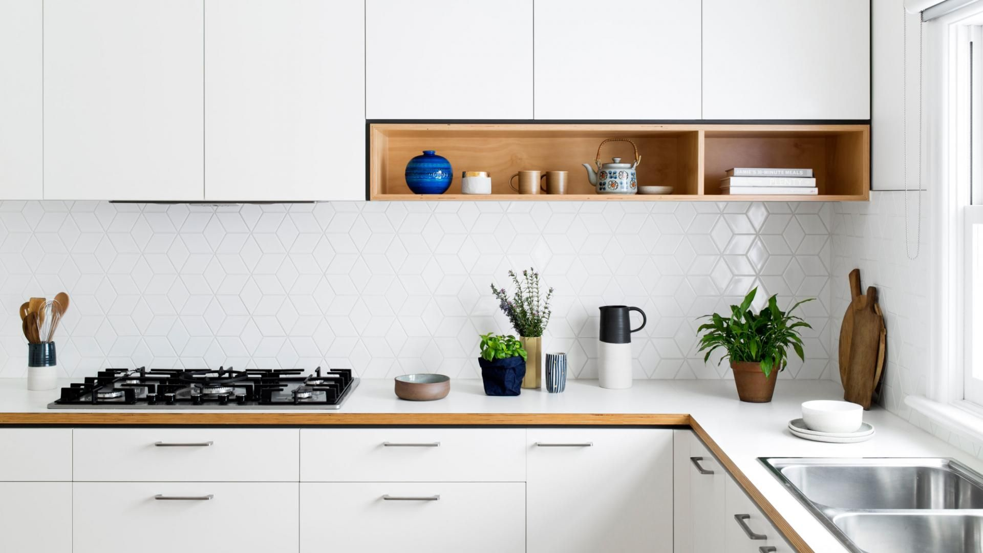 I like the timber touches in white cabinetry, including small open ...