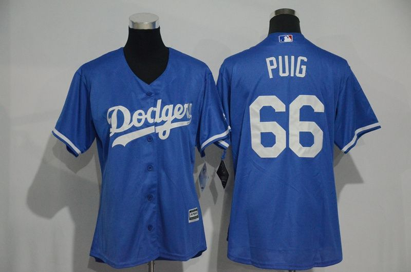 Womens 2017 MLB Los Angeles Dodgers 66 Puig Blue Jerseys 80e575093b3