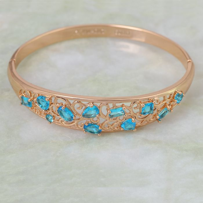 Find More Bangles Information about New 2015 Statement women Jewelry skyblue zircon Sapphire Bracelets & bangles 18K real Gold famous brand fashion jewelry B166,High Quality Bangles from Dana Jewelry Co., Ltd. on Aliexpress.com