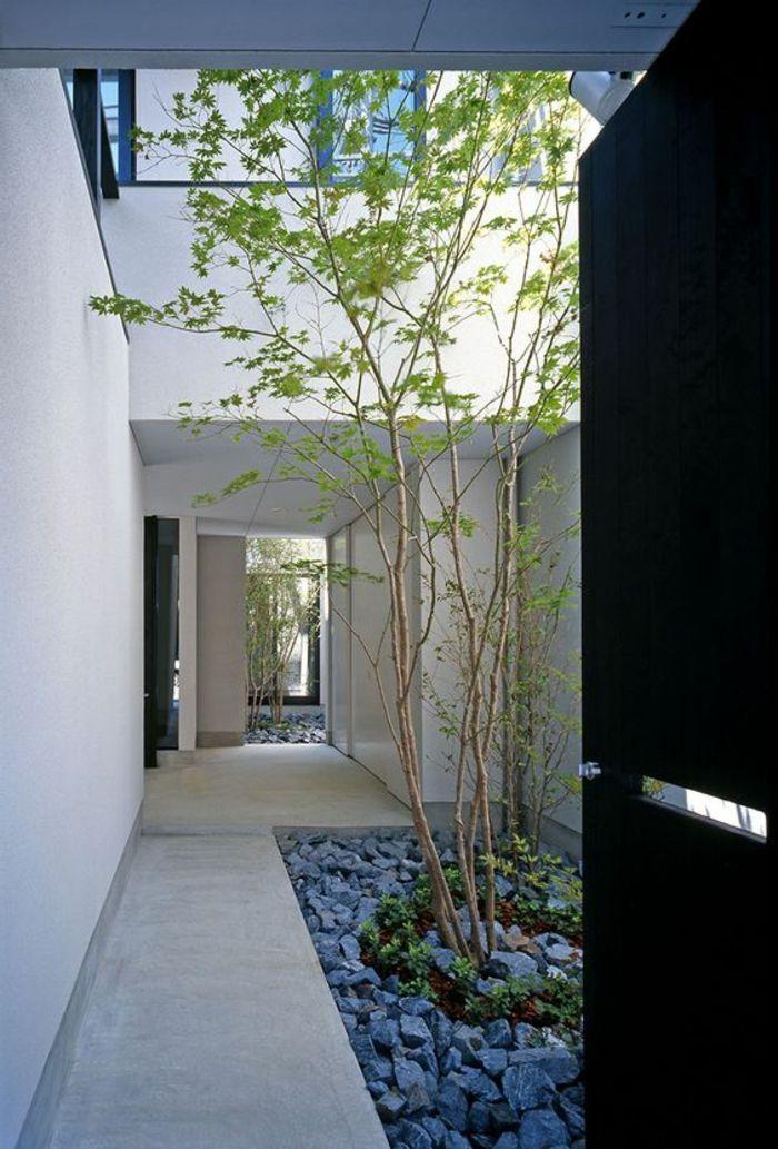 Puristischer Garten graue steine niedrige bäume in einem innenhof puristischer garten