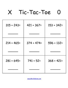 tic tac toe 3 digit addition math station game totally tpt freebies math addition math. Black Bedroom Furniture Sets. Home Design Ideas