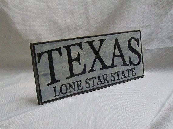 TEXAS wall sign 6 1/2 x 17 distressed by Rt66VintageSigns on Etsy
