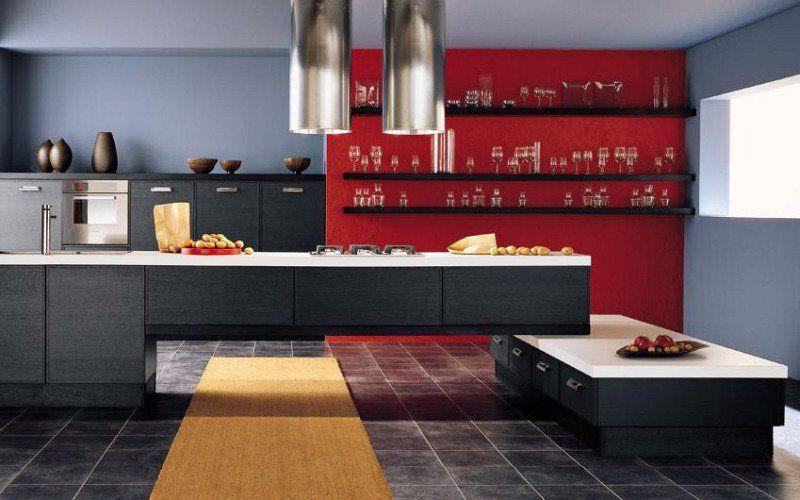 Peinture murale cuisine \u2013 50 exemples design bi- et tricolores - Photo Cuisine Rouge Et Grise