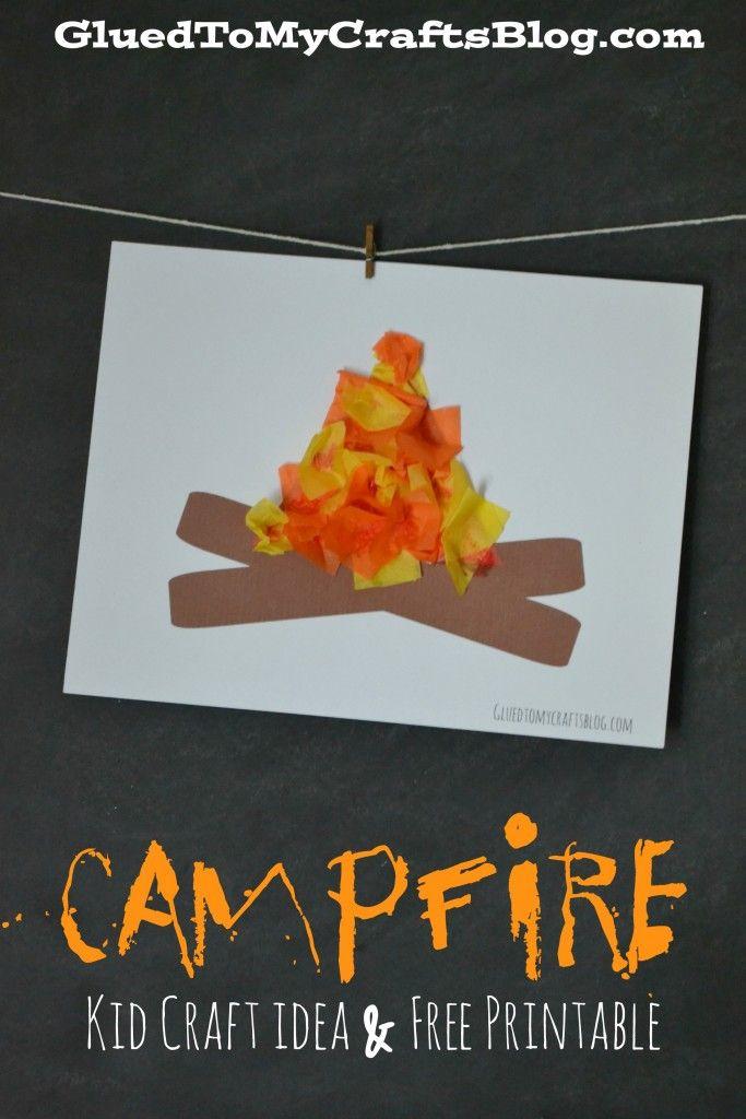 Campfire {Kid Craft Idea & Free Printable} #craftsforkids