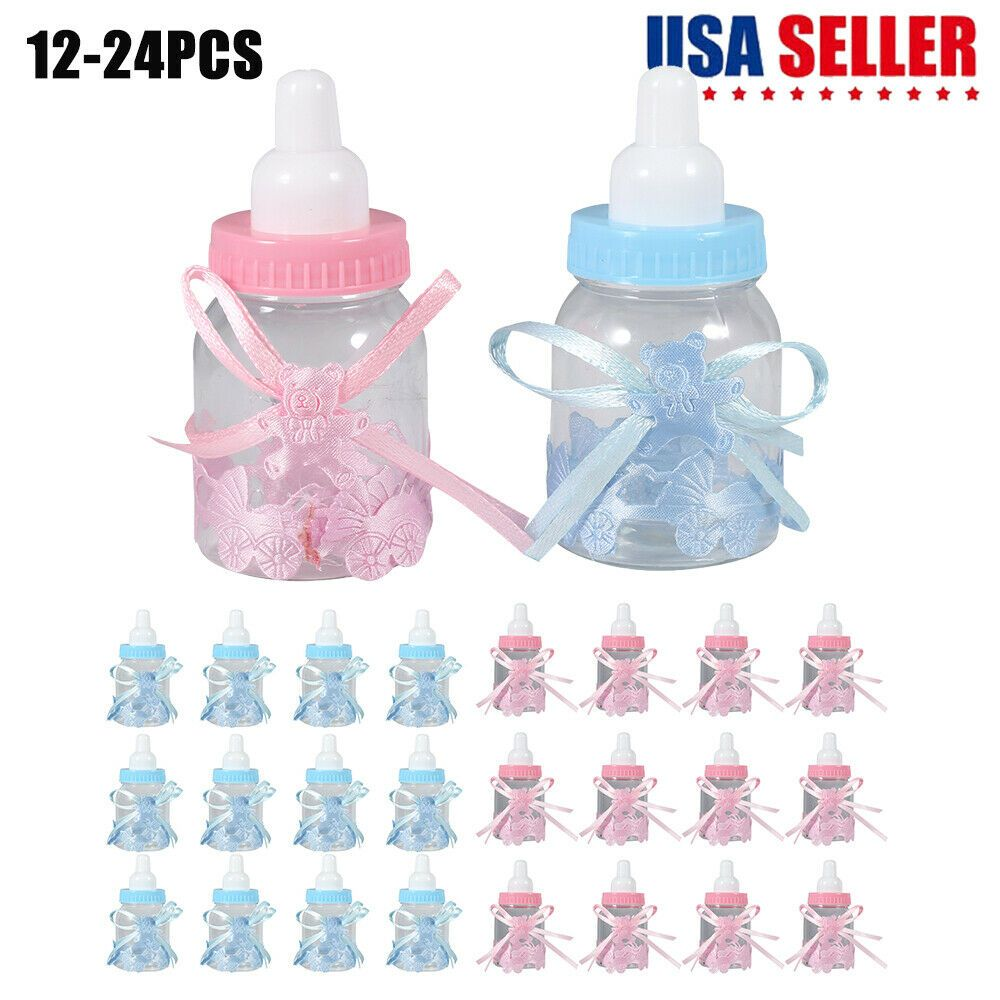12 Fillable Baby Shower Candy Bottle Favors Blue //Pink Party Decor Girl Boy