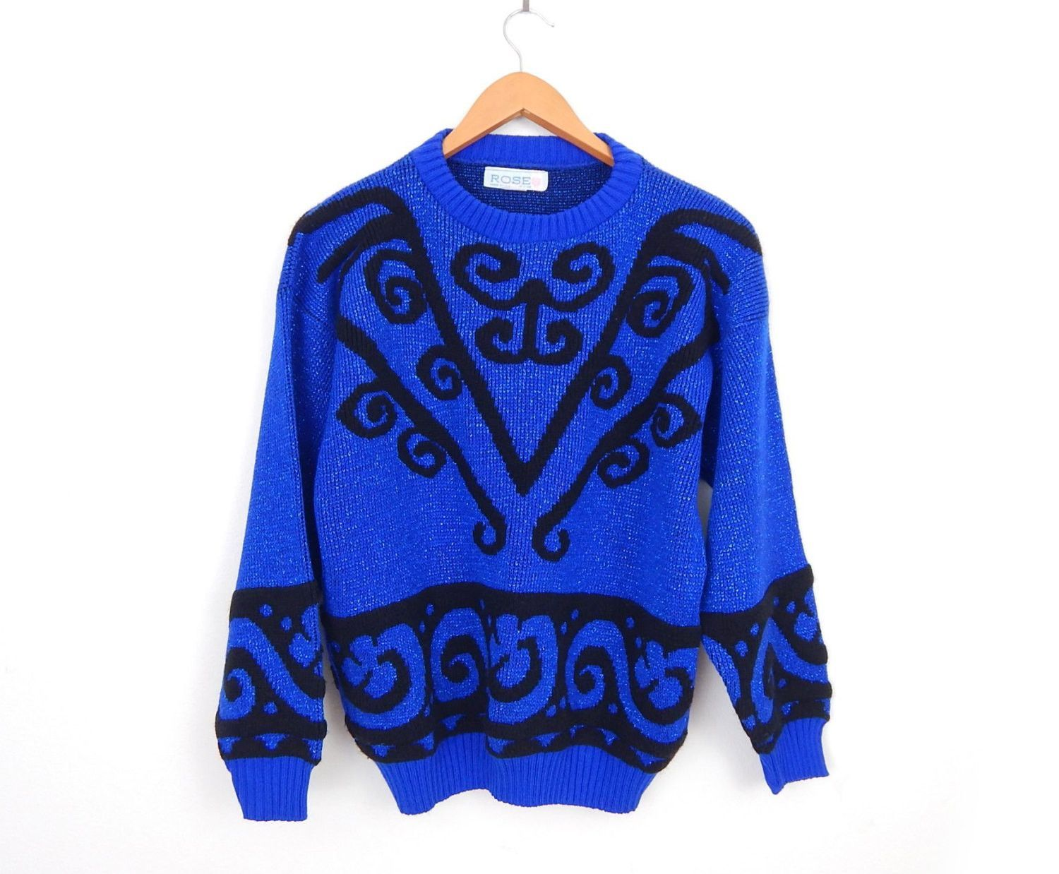 Vintage 80s Sparkly Oversized Women's Sweater - Medium - Royal ...
