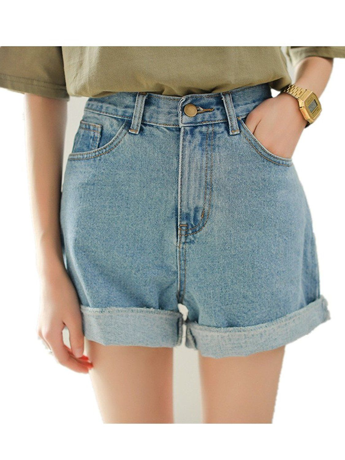 0a1349f40b9 Season Show Girls Denim Shorts Retro High Waisted Jeans Shorts Pant at  Amazon Women s Clothing store