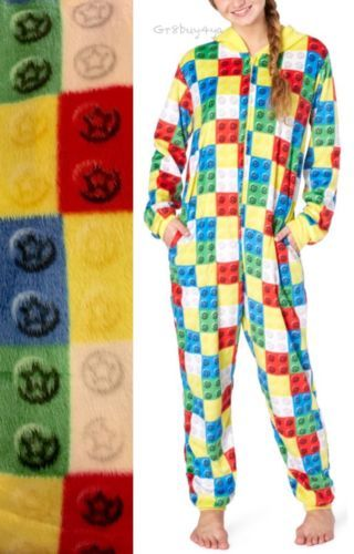 f67baf576b NWT-LEGO-BRICKS-3D-ADULT-HOODED-PAJAMA-ONESIE-BLANKET-SLEEPER-UNION-SUIT-M