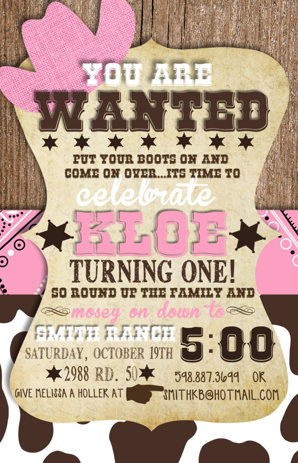 Custom Cowgirl First Birthday Invitation Pinterest Birthdays