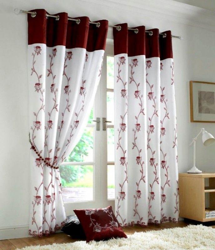 Floral Trail Organza Burgundy White Curtain Designs Home