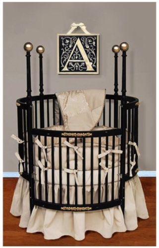 Baby Doll Bedding Sensation Round Crib Bedding Set Gold Round